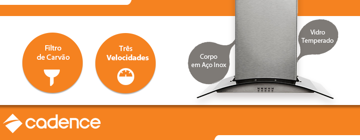 Coifa de Ilha Gourmet Cadence Vidro Aço Inox 60cm 127V - CFA360