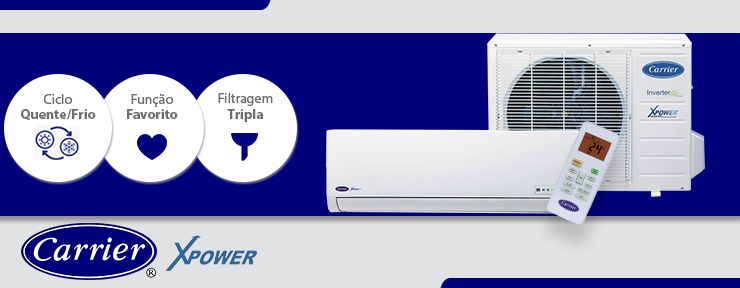 Ar Condicionado Carrier Split Inverter X-Power 18.000 Btus 220V Quente/Frio - 38LVQC18C5.