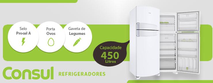 c31e48772 Refrigerador Consul Cycle Defrost Branco 2 Portas 450L 127V - CRD49ABANA