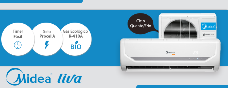 Ar Condicionado Midea Split Inverter Liva 9000 Quente/Frio 220V 38VFQA09M5