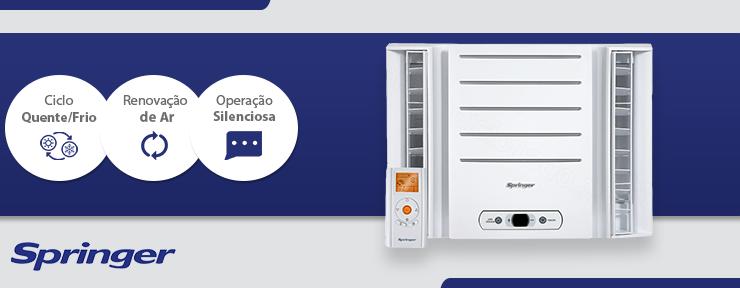 Ar-condicionado Janela Springer Duo Eletrônico 7.500 BTUs Quente/Frio 220V - QQA075RBB